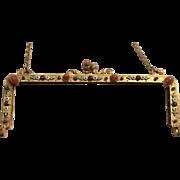 Antique Jeweled Enamel Purse Frame for Beaded Bag