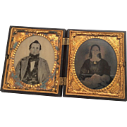 2 Civil War Era Daguerreotype Couple Mother Post Mortem Dead Baby and Father in Gutta Percha Union Case