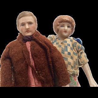 Antique German Bisque Dollhouse Doll Couple Man Woman