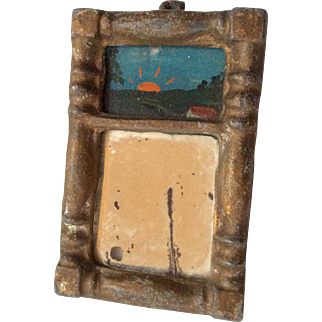 Antique Miniature Dollhouse Doll Picture Painting Mirror