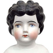 Unusual Curly Hair China Doll Head German Antique