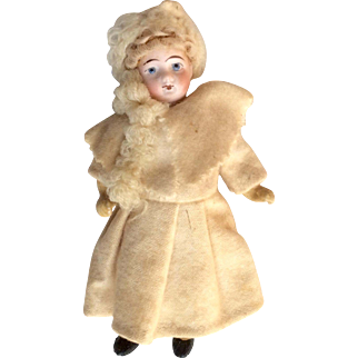 Adorable German Bisque Head Dollhouse Doll in Original Winter Outfit