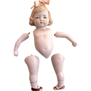 German All Bisque Doll Molded Loop for Bow