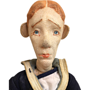 Vintage Cloth Character Rare Male Mini Boudoir Type Doll Pressed Felt