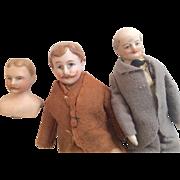 3  Antique Bisque German Dollhouse Doll Man Gentleman Mustache Bald Grandfather As Is Miniature Parts