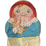 Vintage Printed Cloth Stuffed Doll Tom The Piper's Son Googly Holding Pig