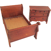 Vintage Miniature Marked Tynietoy Sleigh Bed Bureau Dresser Chest Dollhouse Doll