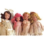 4 Vintage Nancy Ann Storybook Doll Group All Bisque Sleep Eye Extra Outfit