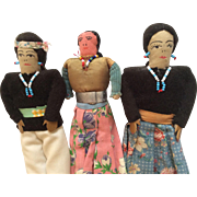3 Vintage Navajo Native American Indian doll