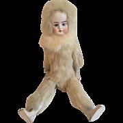 "12"" Antique German Bisque Head Fur Covered Doll Bear"