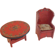 2  Painted Wood Antique Dollhouse Doll Furniture Chair Table Storage