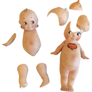 2 Antique German All Bisque Kewpie Doll Repair or Parts