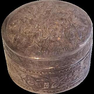 Vintage Sterling Silver Miniature Doll Size Powder Trinket Box Round 925 FF