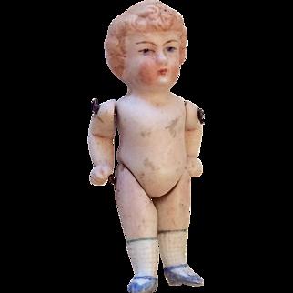 Miniature Antique German All Bisque Doll