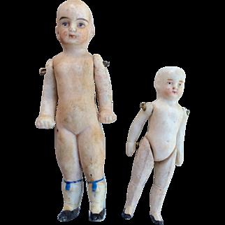 2 Bald German All Bisque Antique Doll Pair Dollhouse Miniature
