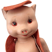 Darling 1930's Ralph Freundlich Pig Doll All Composition Original Clothes Three Little Pigs