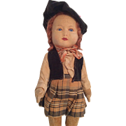 Vintage Glass Eye Chad Valley English Cloth Doll All Original Clothes