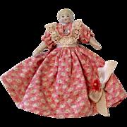 Tiny German Dollhouse Bisque Head Doll Original Dress