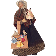 "Amazing Artist Doll Peddler Miniature 1"" Grodnertal Style and Golliwogg Must See"