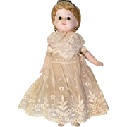 Molded Alice Hair Bow Papier Mache Wax Over Glass Eye Antique Doll