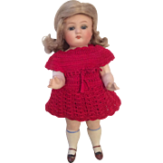 "7"" German All Bisque Sleep Eyes Red Crochet Clothes"