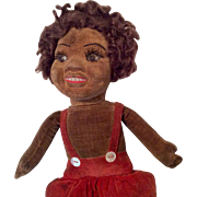 Glass Eye Cloth Doll Black African American Norah Wellings