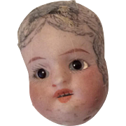 Antiqe German Busque Doll Head Glass Eye Half or Pin Cushion Doll
