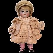 Antique German All Bisque Doll All Original 30 31/2 Crochet Dress Jacket Hat Beret