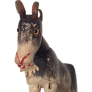 Schoenhut Glass Eye All Wood Jointed Goat Doll Toy