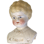 Antique Named Blonde China Doll Head Pet Name Marion
