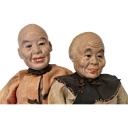 Old Man Woman Chinese Doll Couple Oriental Asian Pair All Original Vintage