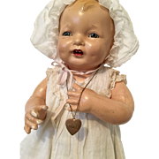 All Original Effanbee Bubbles Baby Doll Tagged Dress Metal Heart Necklace Vintage Composition