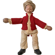 Schoenhut All Wood Jointed Mustache Man Circus Doll