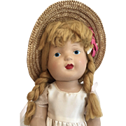 Vintage Composition All Original Doll Great Straw Hat Hang Tag