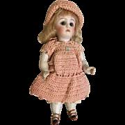 German All Bisque Glass Eye Antique Kestner Doll Crochet Outfit Hat Original Wig