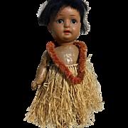 Antique Hawaiian Island Girl Bisque Doll  Schoenau  Hoffmeister German