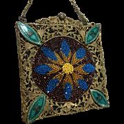 Antique Ornate Brass Beaded Purse