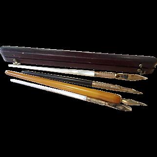 4  Antique Dip Ink Pen and 1 Original Case
