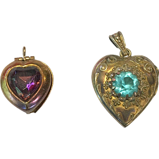 2 Vintage Locket Pendant Charm for Doll Necklace Chatelaine