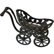 Antique French Metal Dollhouse Doll Miniature Baby Carriage for Mignonette