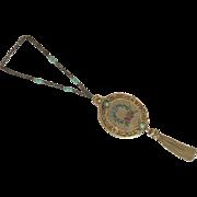 Exquisite Jeweled Frame Trinity Plate Vanity Bag Purse Petit Point Tassel