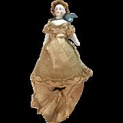 "7"" Bald Biedermeier Black Dot China Head Doll Antique Original Clothes Dollhouse Size"