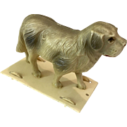 Miniature Pull Toy Dog on Wheels for Antique Dollhouse or Doll