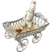 German Miniature Antique Soft Metal Dollhouse Doll Cart Carriage Pull Toy