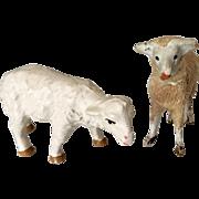 2 Vintage Miniature Dollhouse Doll Sheep Lamb
