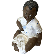 All Bisque Black Baby Boy Doll Antique German African American Figurine Piano Baby - Red Tag Sale Item