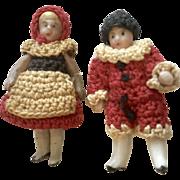 2 Tiny Antique Carl Horn Doll Pair Original Clothes Boy Girl Crochet Outfit Set Hat