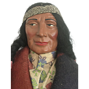 Large Vintage Skookum Indian Native American Doll Chief Man Original Label Great Face Bully Good