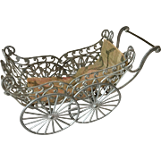 1890s Soft Metal Ornate Antique Dollhouse Doll Carriage
