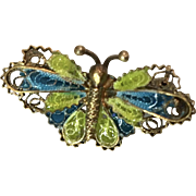 Antique French Enamel Plique-A-Jour Butterfly 800 Silver Doll Pin
